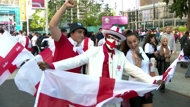 england fans outside wembley before their euro 2020 semi final match against denmark - symbol stock videos & royalty-free footage
