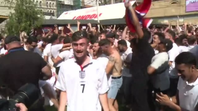 england fans react in london after the first goal against sweden in the world cup 2018 quarter final - quarterfinal round stock videos & royalty-free footage