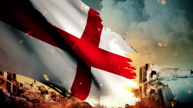 4k england flag - crisis / war / fire (loop) - england stock videos & royalty-free footage