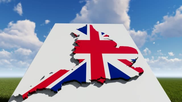 england flag on map with blue cloudy sky - politics illustration stock videos & royalty-free footage