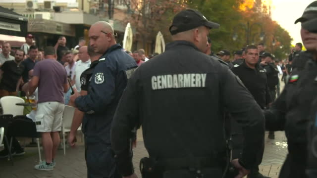 england football fans in sofia city centre and police on duty for bulgaria v england euro qualifier - international team soccer stock videos & royalty-free footage