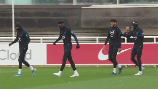 england football team train ahead of euro 2020 qualifying match against montenegro england staffordshire burtonupontrent st george's park ext various... - harry kane soccer player stock videos & royalty-free footage
