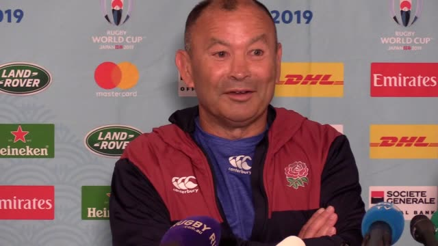 england head coach eddie jones and captain owen farrell look ahead to their side's rugby world cup quarterfinal against australia in a shock... - oita city stock videos & royalty-free footage
