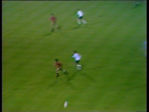 england left back emlyn hughes passes inside to tony curry who shoots poland goalkeeper jan tomaszewski punches clear before mick shannon volleys... - internationaler fußball stock-videos und b-roll-filmmaterial