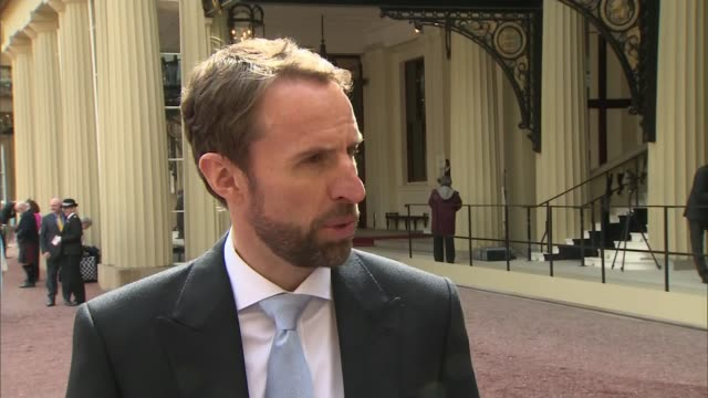 england manager gareth southgate awarded obe england london buckingham palace ext gareth southgate interview sot - order of the british empire stock videos and b-roll footage