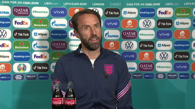 """england manager gareth southgate saying england's players will """"relish"""" the opportunity to represent their country in their euro 2020 second round... - excitement stock videos & royalty-free footage"""