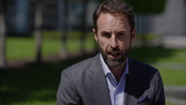 england manager gareth southgate saying he has less time with his players than any other nation - time stock videos & royalty-free footage