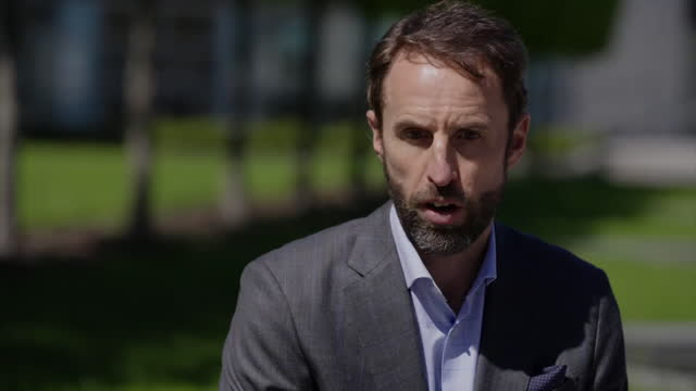 """england manager gareth southgate saying it is """"a thrill"""" to play at wembley for some of their fixtures in the european championships - excitement stock videos & royalty-free footage"""