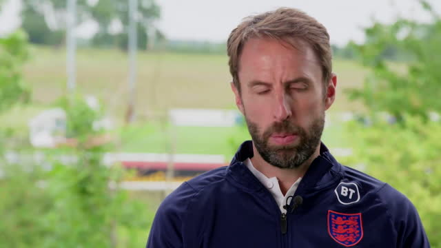 """england manager gareth southgate talking about germany's """"big game experience"""" before their euro 2020 second round match - expertise stock videos & royalty-free footage"""