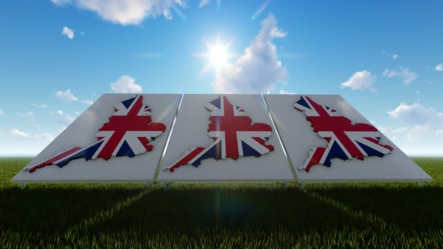 england maps with flags under blue sky - politics illustration stock videos & royalty-free footage