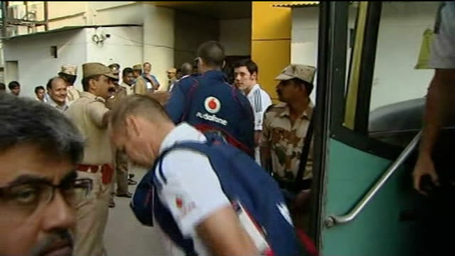 england may host indian premier league tournament lib chennai kevin pietersen and other members of england cricket team disembarking bus armed... - cricket team stock videos and b-roll footage