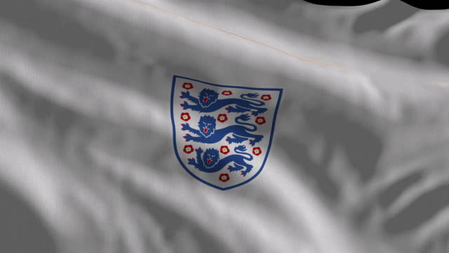 england national soccer team flag waving. computer generated animation for editorial use. seamlessly looped and close up. - international team soccer stock videos & royalty-free footage