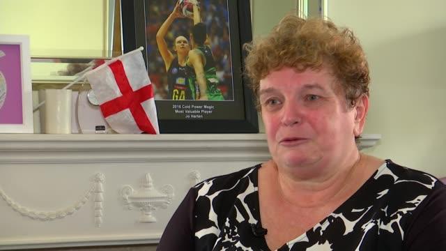 England netball team win gold / highlights of the day ENGLAND Essex Harlow INT Christine Harten interview SOT Christine Harten looking through...