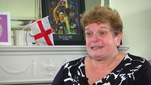 England netball team win gold / highlights of the day ENGLAND Essex Harlow Christine Harten interview SOT Christine Harten showing reporter scrapbook...