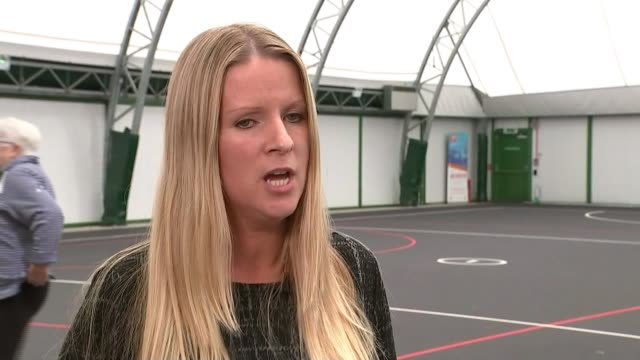England netball team win gold / highlights of the day ENGLAND INT Fran Connolly interview SOT Women throwing balls to each other