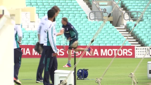 England nets practice at The Oval ENGLAND London The Oval EXT General views of England players practicing in nets including Stuart Broad Moeen Ali...