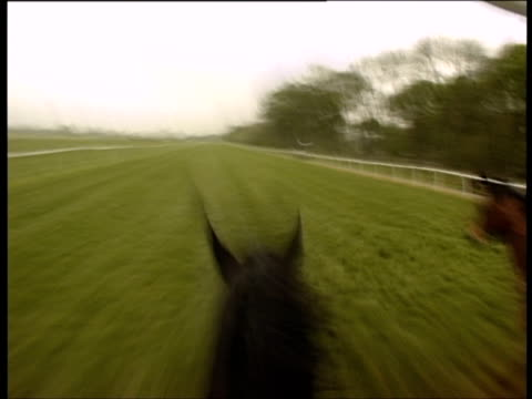POV, England, Newbury, Jockey riding horse in horseracing