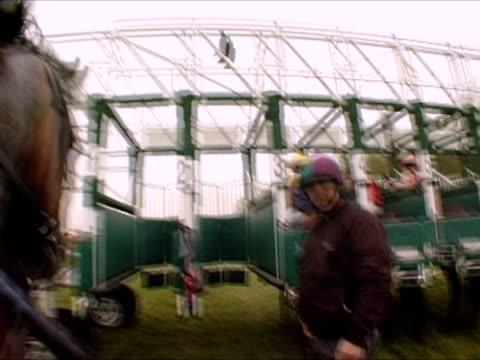 pov, england, newbury, person leading horse into horserace stall - ニューバリー点の映像素材/bロール