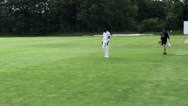 england paceman jofra archer during day one of the second xi championship match at blackstone academy ground, henfield, as he attempts to prove his... - クリケット選手点の映像素材/bロール