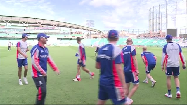 england practise at the oval; england: london: the oval: ext various shots of england cricket team practice session / sign 'we are england cricket' /... - oval kennington stock videos & royalty-free footage
