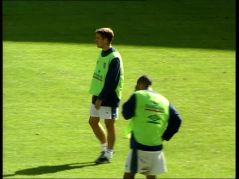 Paris Michael Owen along on training pitch with England players Andy Cole along during training session