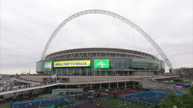England prepare for the World Cup in Brazil next month with a victory over Peru at Wembley Stadium Shows exterior shots of Wembley Atadium with fans...