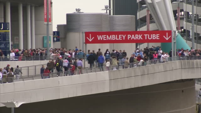 England prepare for the World Cup in Brazil next month with a victory over Peru at Wembley Shows exterior shots of England fans entering Wembely...