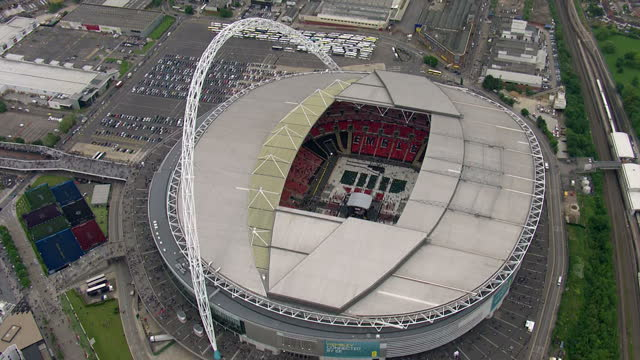 england prepare for the world cup in brazil next month with a victory over peru at wembley. shows aerials of wembley stadium on may 30, 2014 in... - wembley stadium stock videos & royalty-free footage