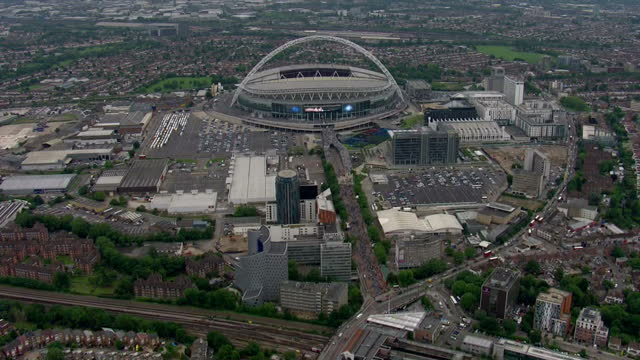 England prepare for the World Cup in Brazil next month with a victory over Peru at Wembley Shows aerials shots of Wembley Stadium on May 30 2014 in...