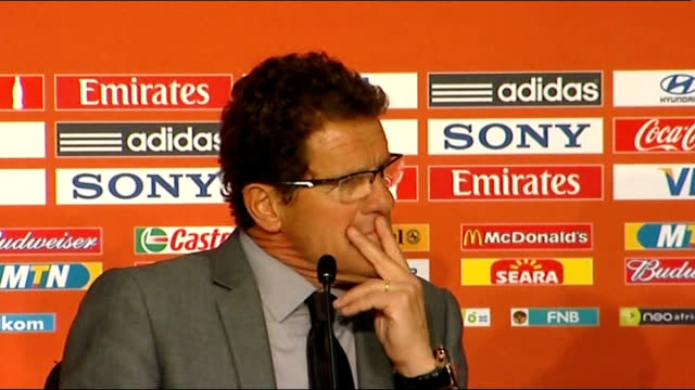 vídeos de stock, filmes e b-roll de england qualify for knockout stages fabio capello press conference capello press conference sot on how they prepared for the match watched the first... - physical injury