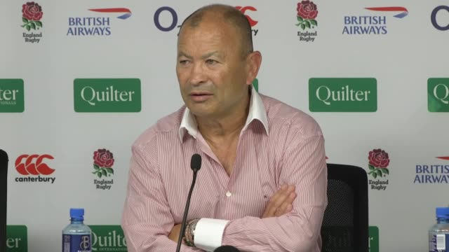 england rugby head coach eddie jones calls for greater consistency over rules for tackles, and says the decision to punish new zealand lock scott... - 10 seconds or greater stock-videos und b-roll-filmmaterial