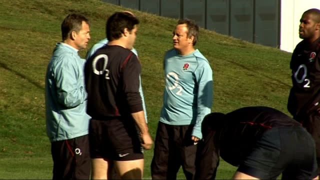 surrey bagshot ext various of england national rugby team training including jonny wilkinson - national team stock videos & royalty-free footage