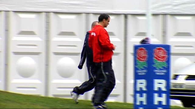 england rugby squad training location various of england rugby squad training with england manager martin johnson - croft stock videos & royalty-free footage