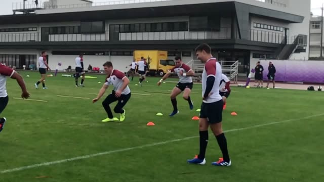 england rugby train in minatoku ahead of facing new zealand in yokohama this weekend it comes as england stormed into the world cup semifinals as two... - oita city stock videos & royalty-free footage
