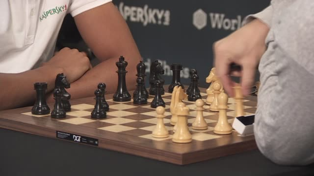 England star Trent AlexanderArnold reveals his love of chess ENGLAND London INT Various of AlexanderArnold playing chess against world champion...