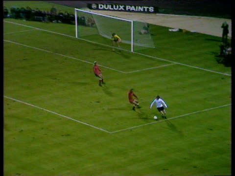england striker alan clarke crosses to far post for header by mick shannon tipped over crossbar spectacularly by poland goalkeeper jan tomaszewski... - world cup qualifying round stock videos and b-roll footage