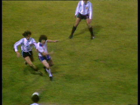 England striker David Johnson cuts inside of Argentine defenders passes infield for captain Kevin Keegan to score with right foot shot during...