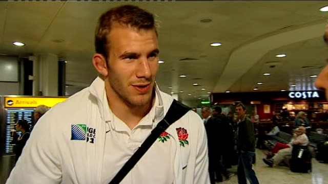 england team arrive back at heathrow airport england london heathrow airport int various gvs england rugby players along through 'international... - croft stock videos & royalty-free footage