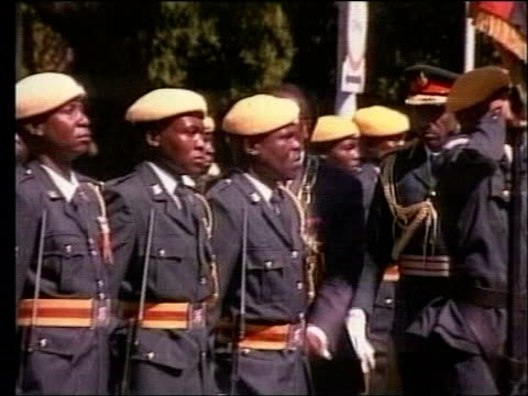 england team request zimbabwe match move; lib zimbabwe: harare: president of zimbabe robert mugabe inspecting troops - request stock videos & royalty-free footage