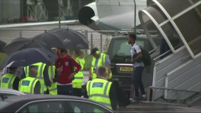 england team return home england luton bedfordshire ext england players disembarking plane at luton airport - euro 2016 stock videos and b-roll footage