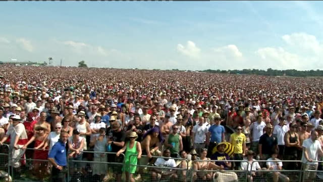 england team return home somerset glastonbury crowd at glastonbury festival people in crowd reacting to german goal sot man wearing straw hat - straw hat stock videos & royalty-free footage