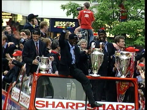 england team selection:; pool england: manchester: day cms andy cole on back of bus during victory parade lms andy cole sitting on front of bus with... - parade stock videos & royalty-free footage