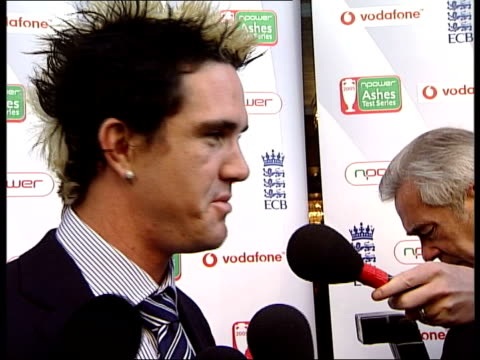 england team stage victory parade following ashes win england london int kevin pietersen talking to unidentified woman in hotel lobby simon jones and... - cricket team stock videos and b-roll footage