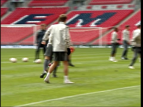 England team training at new Wembley Stadium More of training exercises including good shots of Terry and Rooney