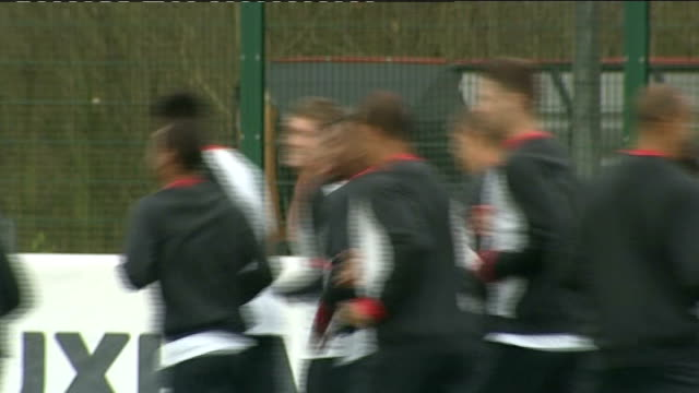 england team training england national team jogging during training session includes lampard danny wellbeck theo walcott and john terry / capello... - national team stock videos & royalty-free footage