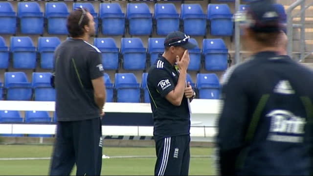 england team training in cardiff; wales: cardiff: swalec stadium: ext various of england cricketers on pitch practicing fielding into nets, including... - fielder stock videos & royalty-free footage