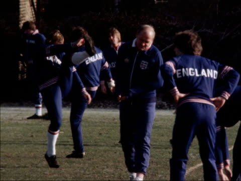 England team training prior to match against Northern Ireland b NAT MS Ron Greenwood on pitch PULL as team train on pitch MS Team jogging ZOOM to...