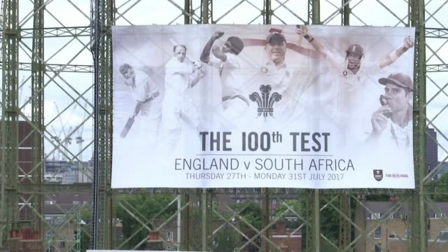 England to play 100th test match at the Oval George Grace setup shot with reporter Banner advertising 100th test George Grace interview SOT