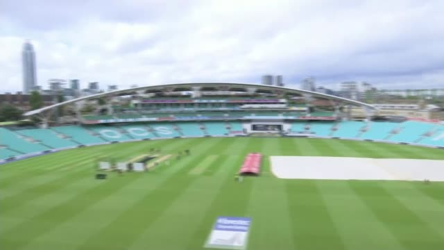 england to play 100th test match at the oval pan the oval cricket ground people training on pitch general view scoreboard - international match stock videos & royalty-free footage