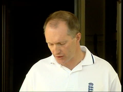 england tour of zimbabwe to go ahead itn johannesburg ext cms andy walpole speaking to press sot talks of england team flying to zimbabwe tomorrow /... - satellite tv stock videos and b-roll footage